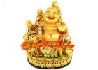 Golden Laughing Buddha with Five Kids