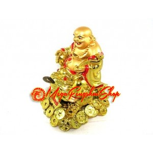 Golden Laughing Buddha on Money Frog and Treasure