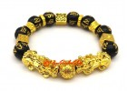 Golden Pair of Feng Shui Pi Yao Bracelet for Wealth Luck