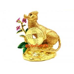 Golden Prosperity Rat Holding Coin