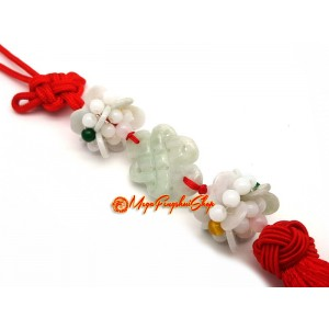 Jade Feng Shui Mystic Knot with Lotus Tassel