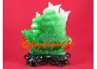 Jadeite Double Dragon Feng Shui Wealth Ship