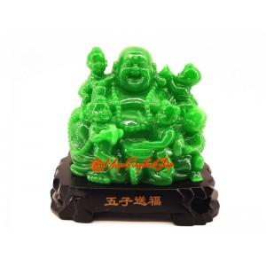 Jadeite Laughing Buddha with Five Kids