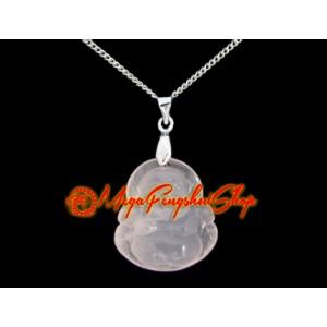 Laughing Buddha Crystal Pendant Necklace (Rose Quartz)