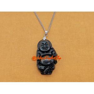 Laughing Buddha Pendant (Black Obsidian)