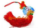 Liuli Temple Lion Biting Swords Tassels (Colorful)