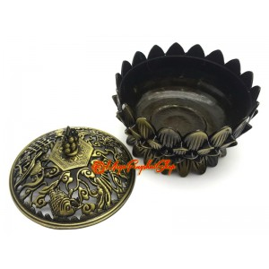 Lotus Incense Burner with Eight Magical Objects