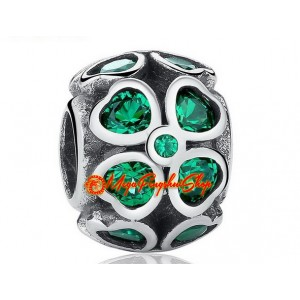Lucky 4-Leaf Clover Charm Bead with Green Rhinestones (925 Silver)