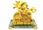 Lucky Golden Ox with Coins for Good Fortune
