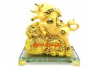 Lucky Golden Ox with Wealth Bag for Good Fortune
