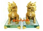 Majestic Pair of Golden Feng Shui Chi Lin