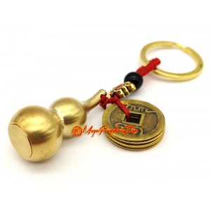 Metal Wulou With 5 Emperor Coins Amulet Keychain