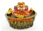 Money Toad on Wealth Pot with Crystal Chips and Five Grains