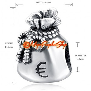 Money Wealth Bag with Euro Sign Charm Bead (925 Silver)