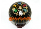 Obsidian Crystal Ball with Heart Sutra