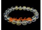 Om Mani Padme Hum Crystal Bracelet (10mm) (Clear Quartz)
