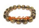 Om Mani Padme Hum Crystal Bracelet (12mm) (Smoky Quartz)