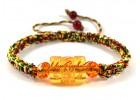 Om Mani Padme Hum Yellow Crystal Bracelet (Adjustable)