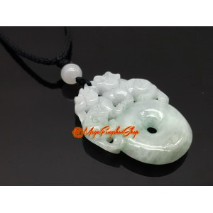 Pair of Pi Xiu with Ping An Kou Coin Jade Pendant