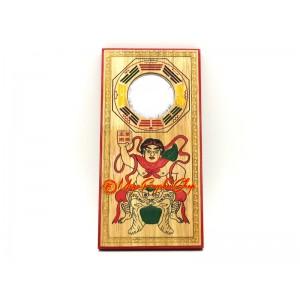Peach Wood Feng Shui Bagua Mirror with Door God