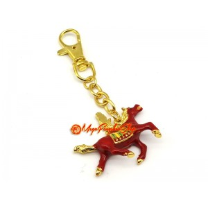 Red Feng Shui Windhorse for Success Luck Keychain