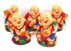 Set of Five Adorable Good Fortune Laughing Buddhas