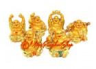 Set of Golden Laughing Buddha