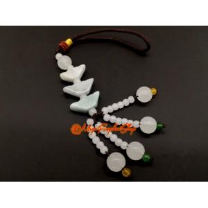 Three Jade Feng Shui Gold Ingots Hanging