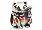 Wealth Beckoning Fortune Cat Bead Charm (925 Silver)