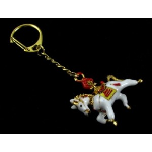Windhorse Carrying Flaming Jewel Feng Shui Keychain