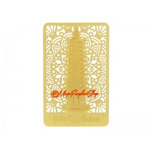 Wisdom Pagoda Gold Talisman Feng Shui Card