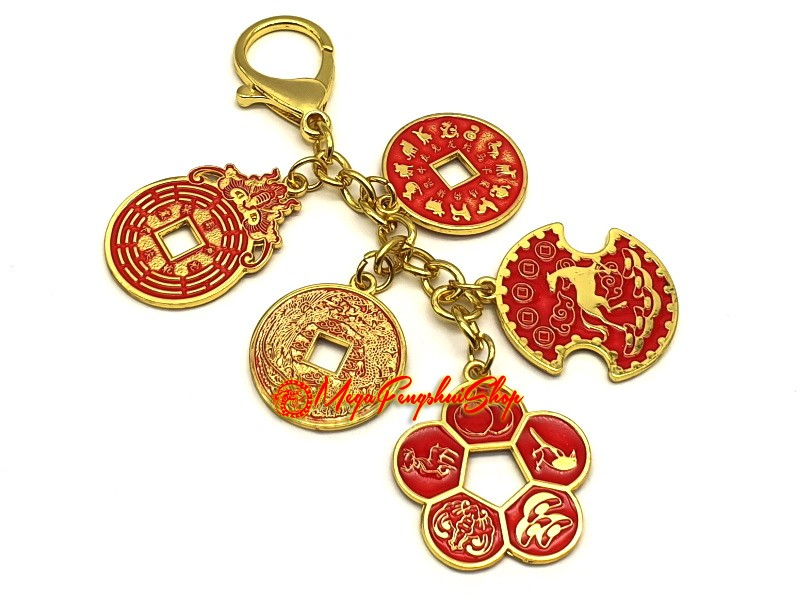 Success And Wealth Five Amulet Coins Feng Shui Keychain